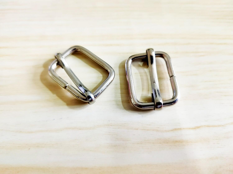 """Set of 2 Bag Handle Buckel Slider Metal Nickel 3/4"""" wide"""