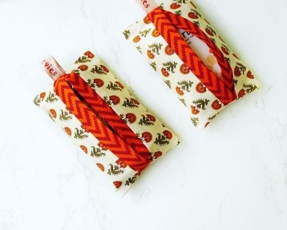Handcrafted Orange  Fabric Pocket Tissue Holder