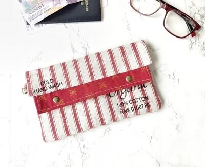 Stripe Linen Minimslist Wallet