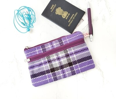 Wool plaid double zipper pouch - purple