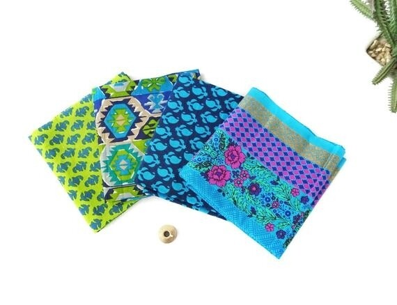 Blue Green Fat Quarter Bundle of 4