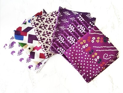 Purple Block Print Fabric bundle