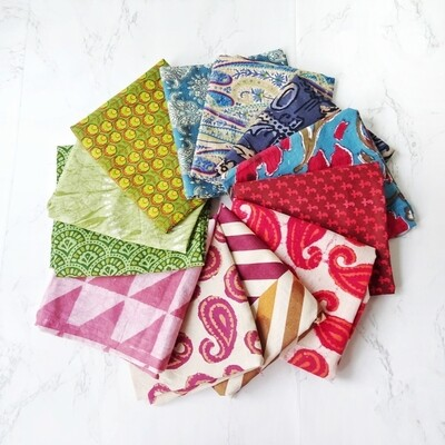 Mix Mud Cloth and Block Print Cotton Fabric Fat Quarter Bundle of 12