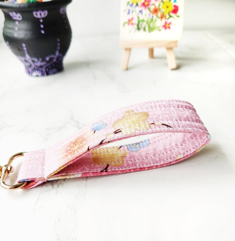Pink Cherry Blossom Keyring - Fabric Keyfob - Keychain