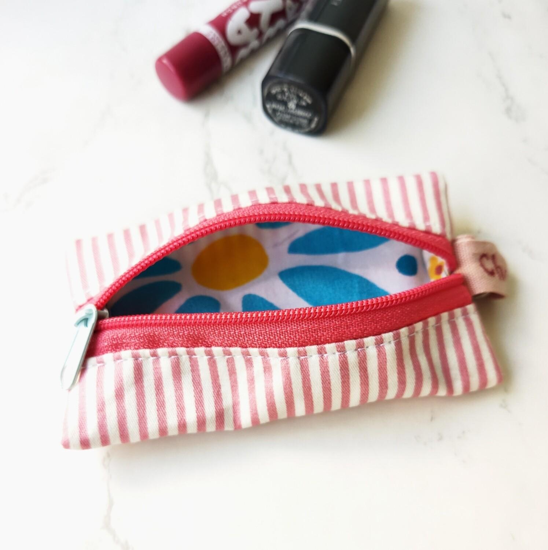 "Pink Stripe Mini Zipper Pouch - 2.5"" x 4.5"""