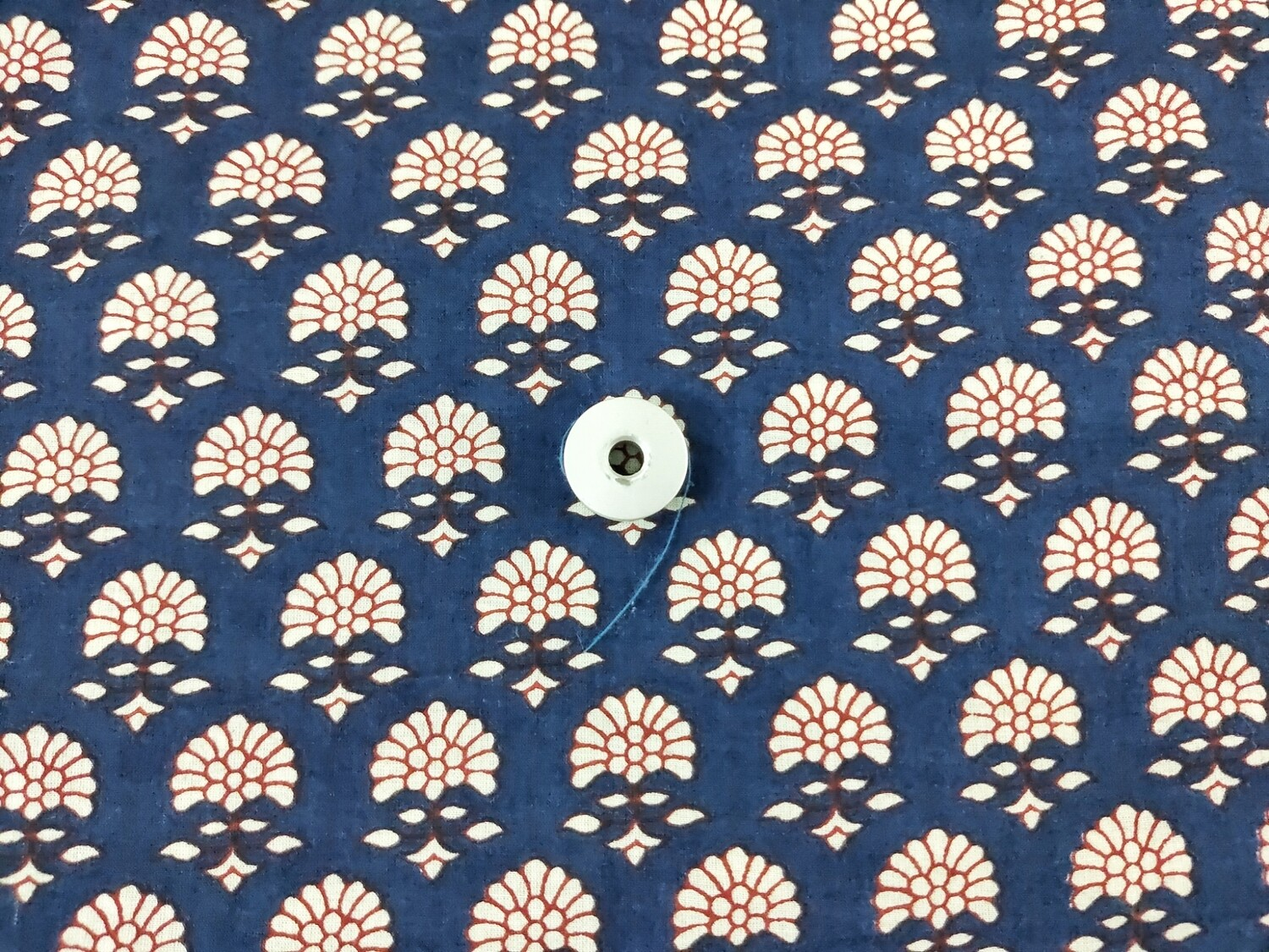 Blue Floral Block Print Cotton - Sold by Half Meter