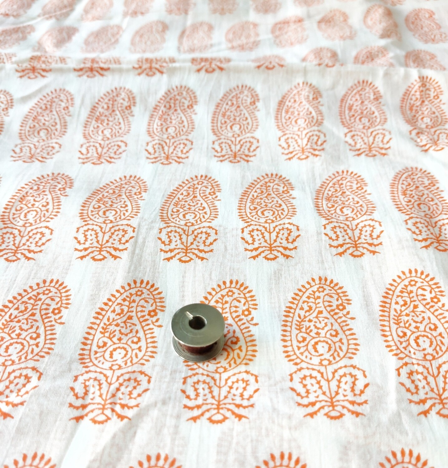 Orange Paisley Lightweight Cotton Fabric, 44 Inch Wide