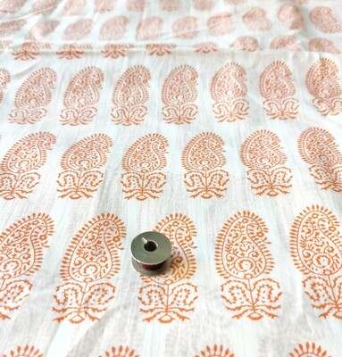 Orange Paisley Lightweight Cotton Fabric, 44 Inch Wide