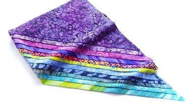 Purple Teal  Bali Batik Fat Quarter Quilting Fabric Bundle