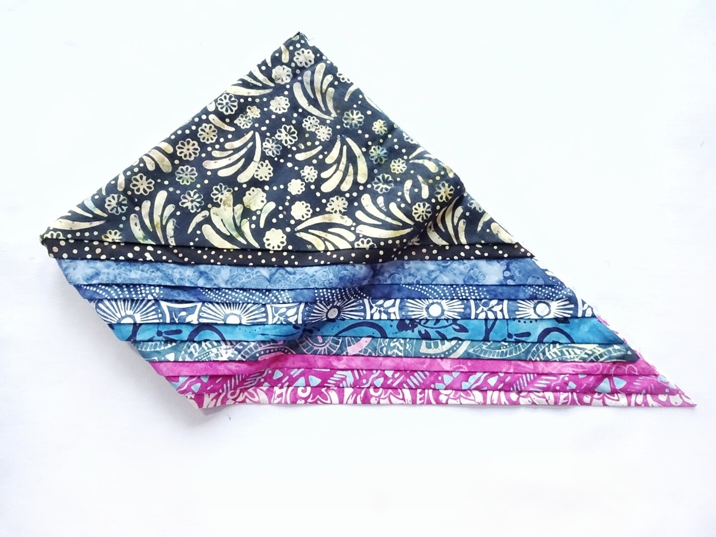 Blue Pink Batik Bali Quilting Fabric Bundle