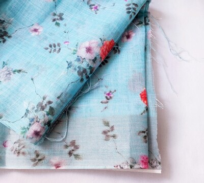 Blue Floral Linen Jute with Silver Border, 44 inch wide, sold by Half Meter