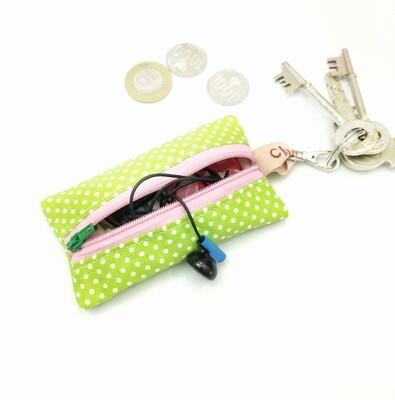Green Polkadots  Mini Zipper Pouch - 2.5