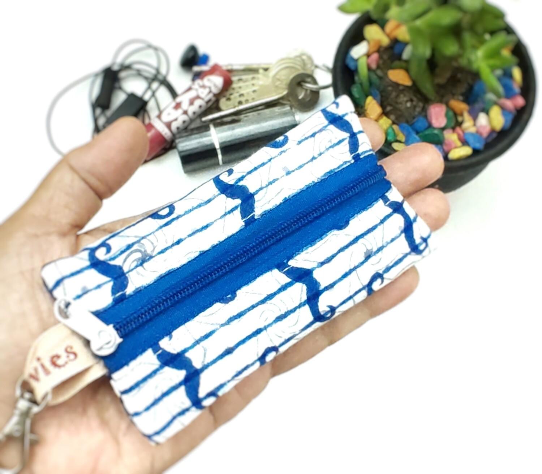 """Blue Moustache Mini Zipper Pouch - 2.5"""" x 4.5"""""""