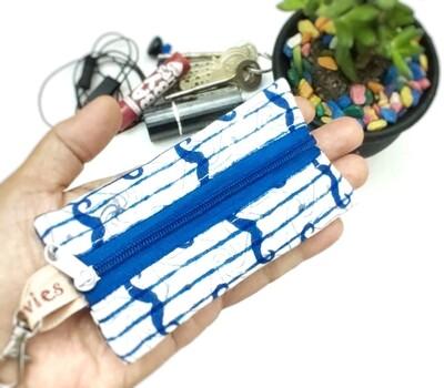 Blue Moustache Mini Zipper Pouch - 2.5