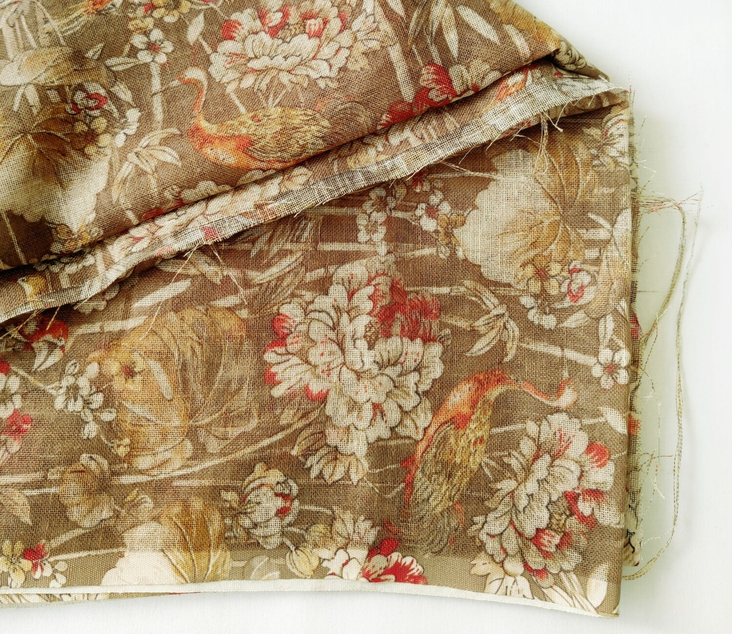 Brown Floral Linen Jute with Silver Border, 44 inch wide, sold by Half Meter