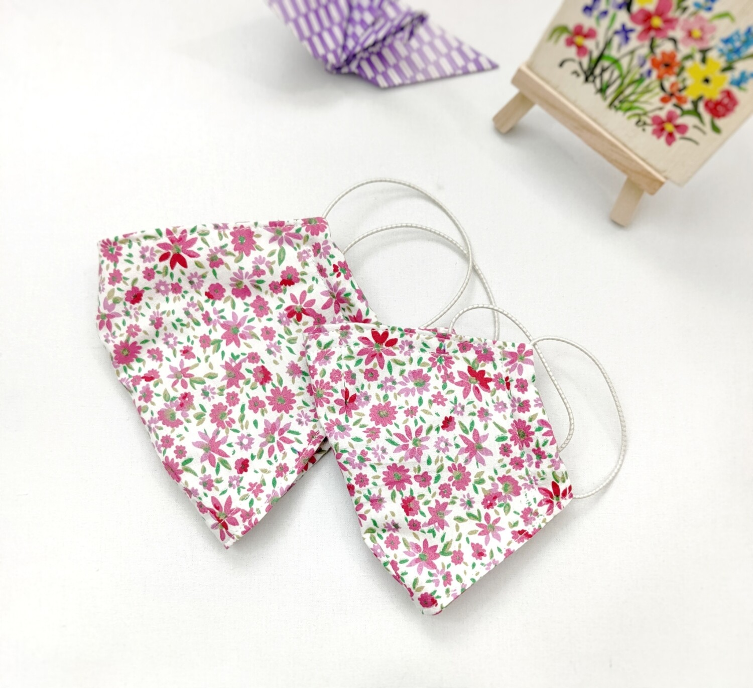 Couple  Cloth Mask With Filter Pocket for Mom and Daughter -  Handmade - Small Floral Print