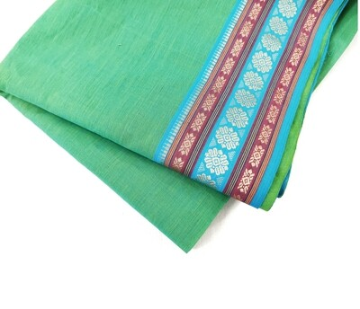 Green handloom cotton fabric with border, 44 Inches wide, sold by half meter