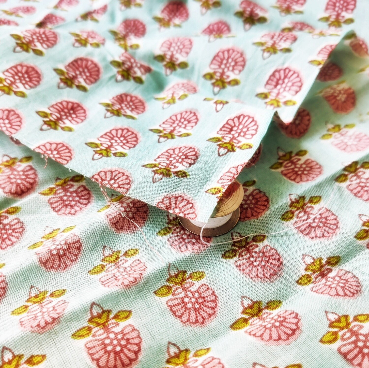 Floral block print cotton fabric - 44 inch wide - sold by half meter