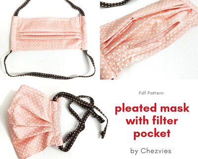 FREE TUTORIAL Surgical Pleated Mask with Filter Pocket and Nose Clip Wire