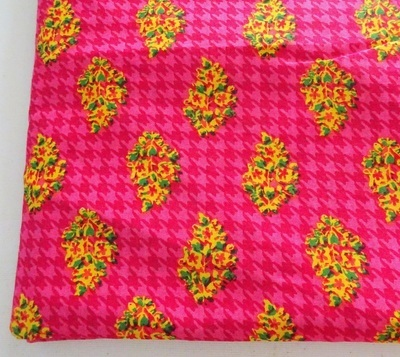 Pink Flower Cotton Fabric - Houndstooth Block Print Cotton Fabric