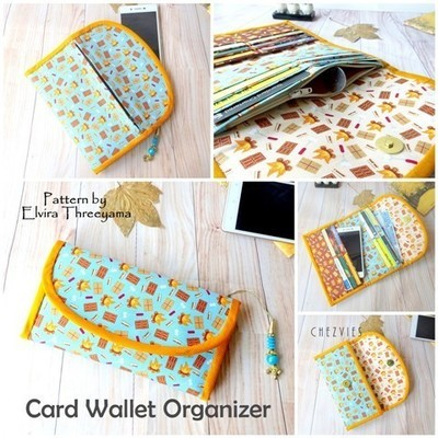 Card Wallet Organizer Pdf Pattern, Sewing Pattern Trifold Wallet, Card organizer, credit card wallet, Downloadable Pattern, Wallet Pattern
