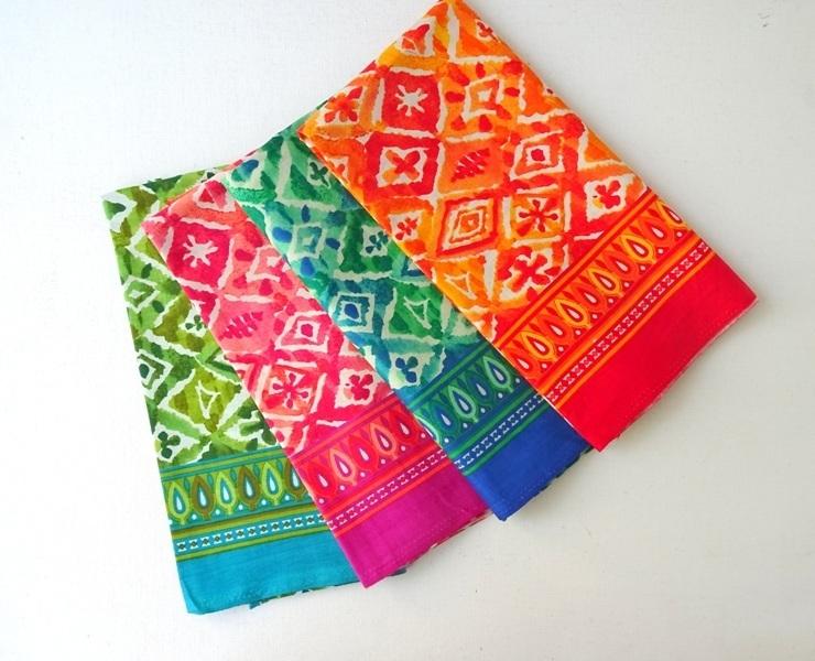 Vibrant block print fabric, boho Teal cotton, green diamond print, orange geometric, pink peach indian fabric, sewing, crafting, Half Yard