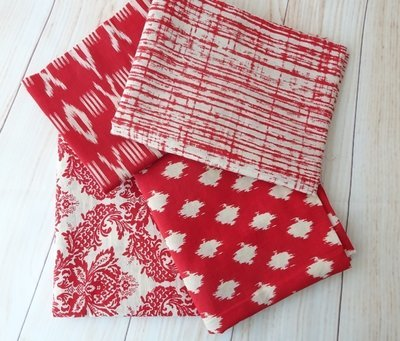 Indian Fabric Fat Quarter Bundles - Red and White