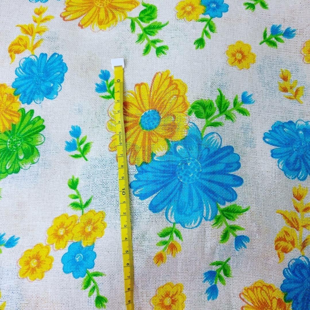 Blue Yellow Floral Printed Jute / burlap