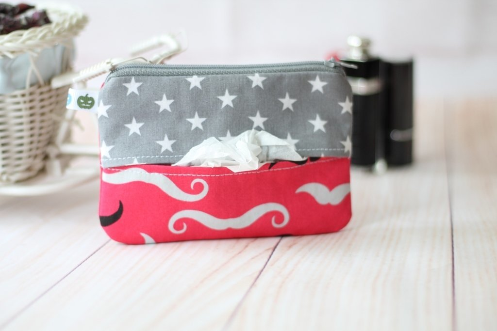 Small Zipper Pouch, coin purse and tissue pouch, mini make up bag - pink mustaches