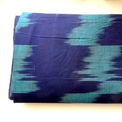 Blue and Teal Handloom Ikat Cotton Dress Material