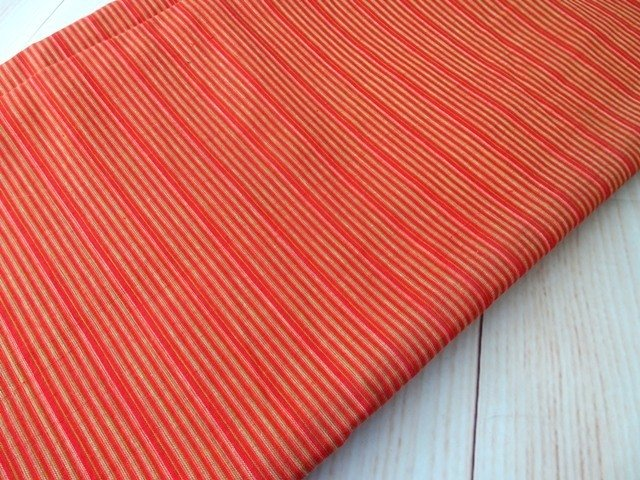 Orange Striped shot cotton woven fabric , DIY Craft, Sewing, Apparel, pumpkin orange small stripe Indian cotton fabric, half yard