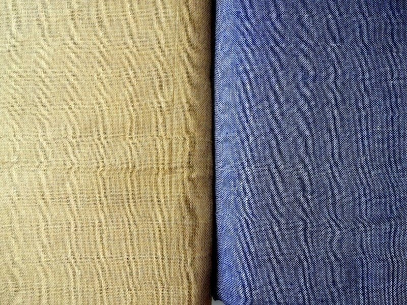 Solid jute burlap fabric in tan or blue color, plain burlap, natural color, indian fabric, crafting, sewing, DIY, half yard