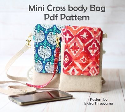 PdF Pattern - Mini Cross body bag for Phone, Kindle, travel, passports holder, hipster etc