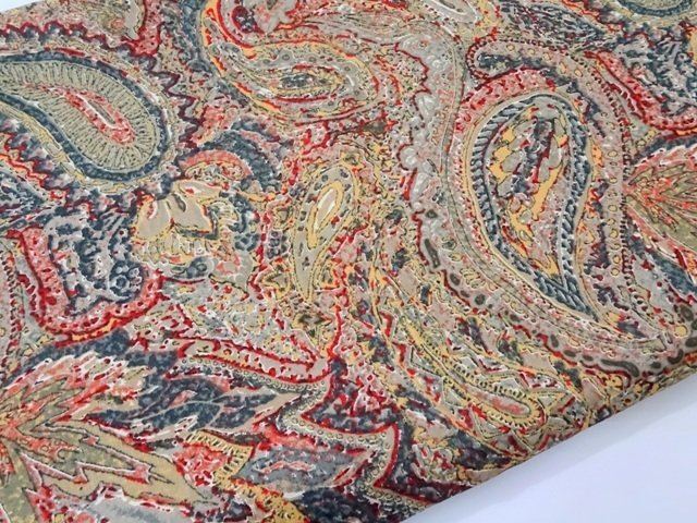 Brown Paisley Glace Cotton Dress Material Fabric
