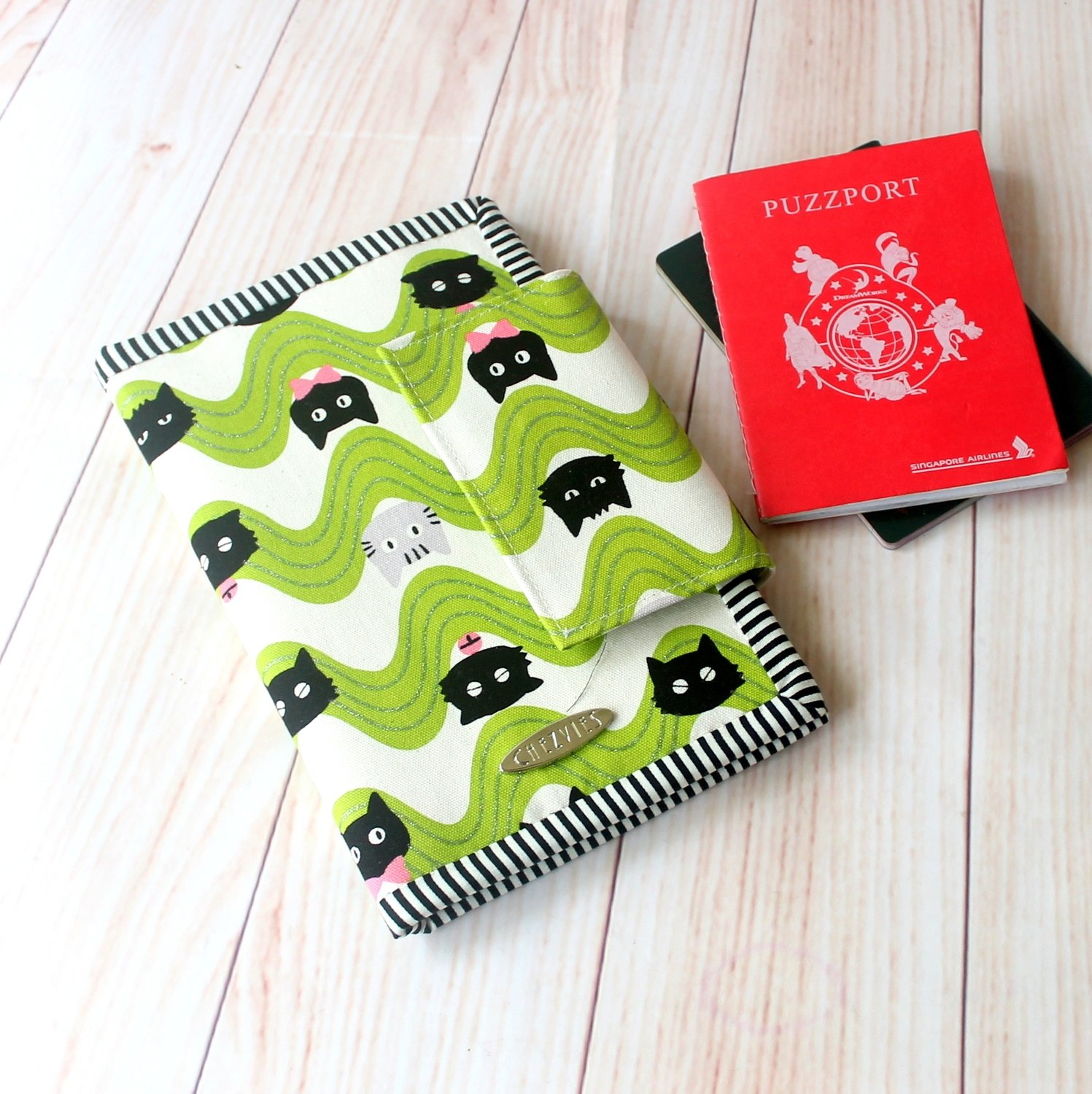 Cat print passport and card holder, handmade travel wallet