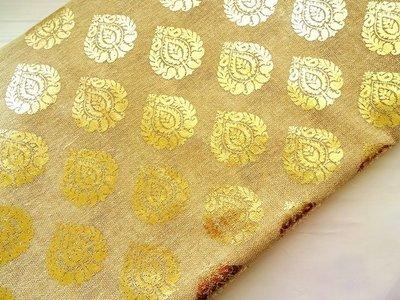 Natural tan color jute craft matrtial, burlap with gold print, golden printed jute fabric