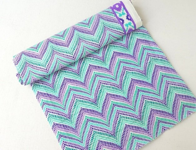 Purple Green Cotton Dress Material  zig zag chevron print