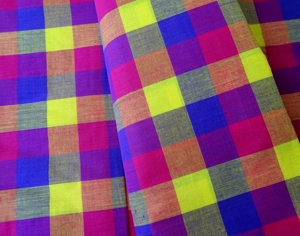 Shot cotton fabric, bright check cotton fabric, handwoven indian cotton fabric, multi color gingham, half yard