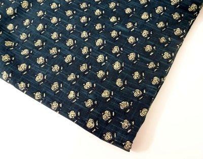 Dark Blue  Block Print Linen Dress Material