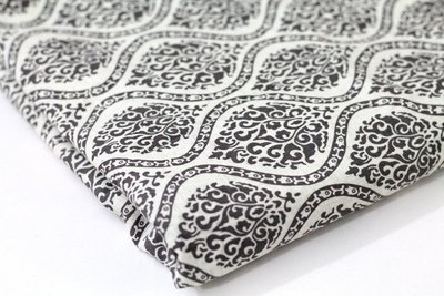 Off White and Grey   Block Print Linen