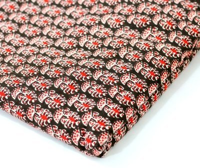 Red Floral  Block Print Linen