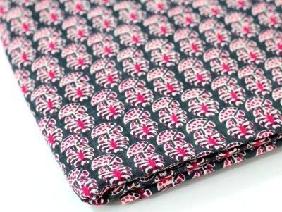 Pink Floral  Block Print Linen
