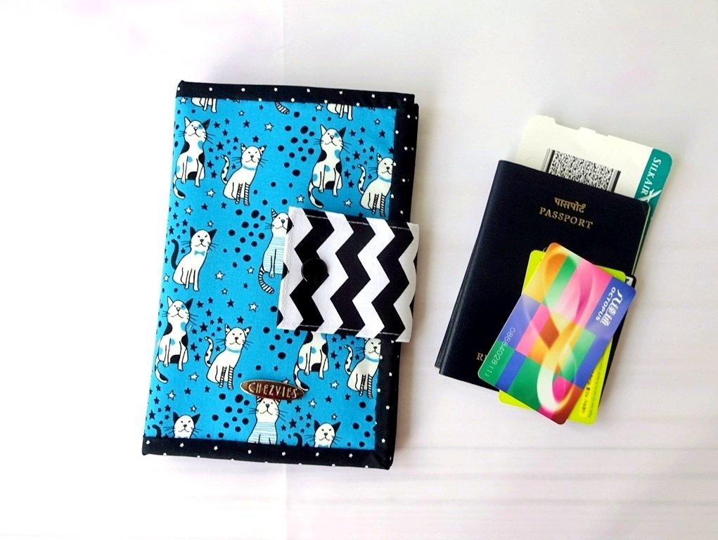 Handmade Passport Holder, Card Wallet, Travel Wallet - cat print wallet