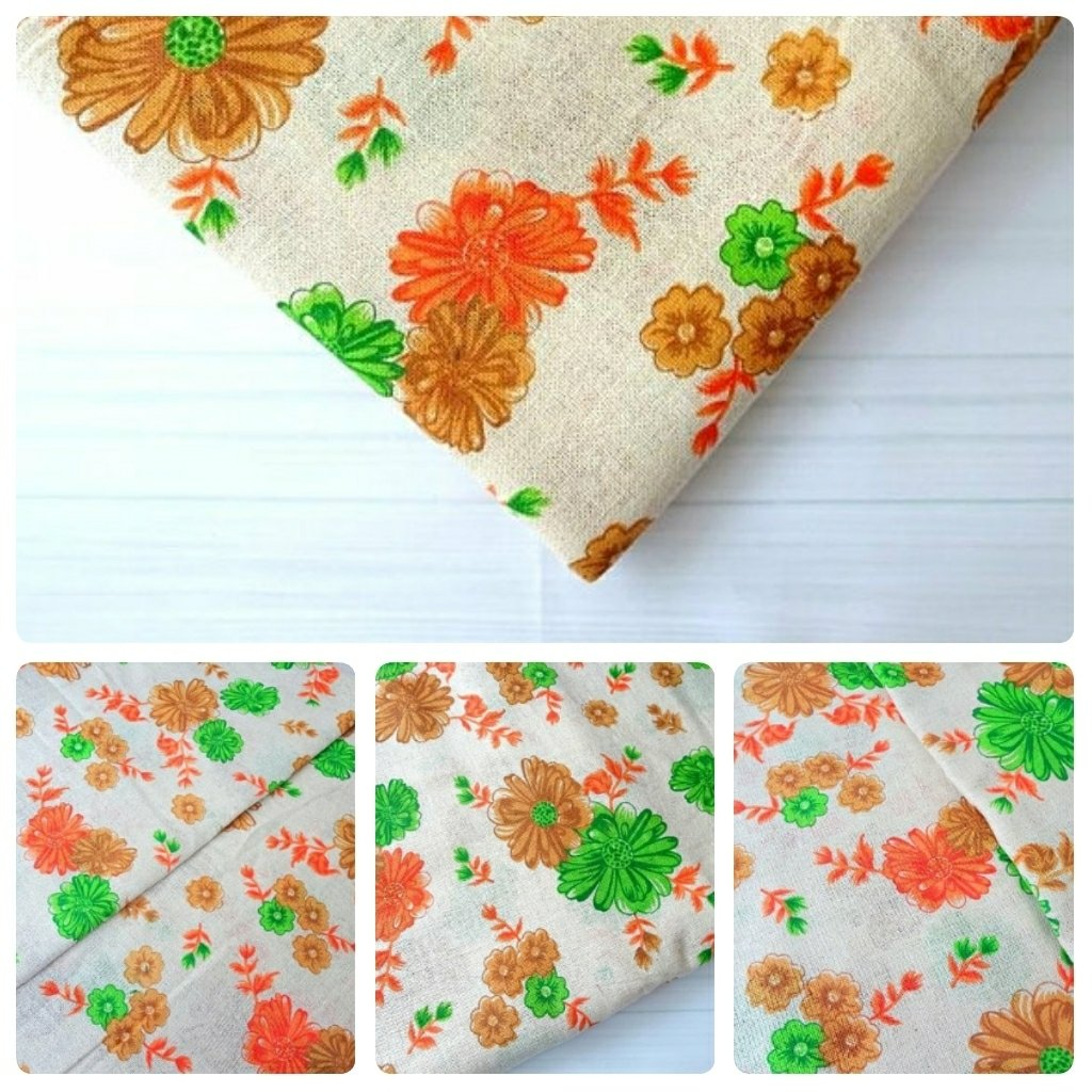 Natural Beige color burlap with floral print, Orange flower jute fabric for Christmas wreath, vintage, shabby chic home decor
