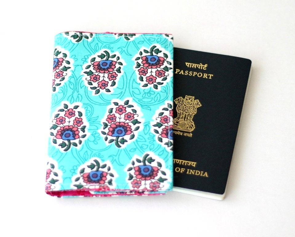 Ready to Ship Aqua Green Passport Cover, Fabric Passport Sleeve, Basic Passport Holder, Passport Wallet, travel gift, vegan,frequent flyer