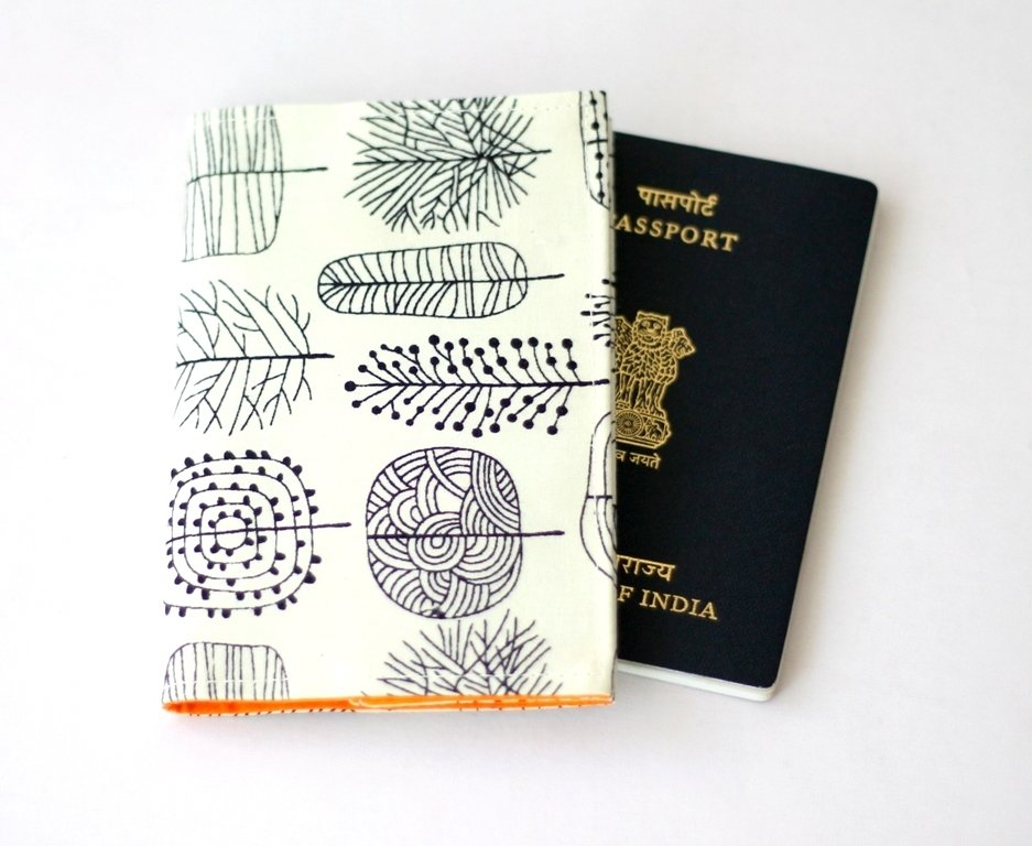 Ready to Ship Tree Print Passport Cover, Fabric Passport Sleeve, black white, Passport holder, travel gift, frequent flyer, student exchange