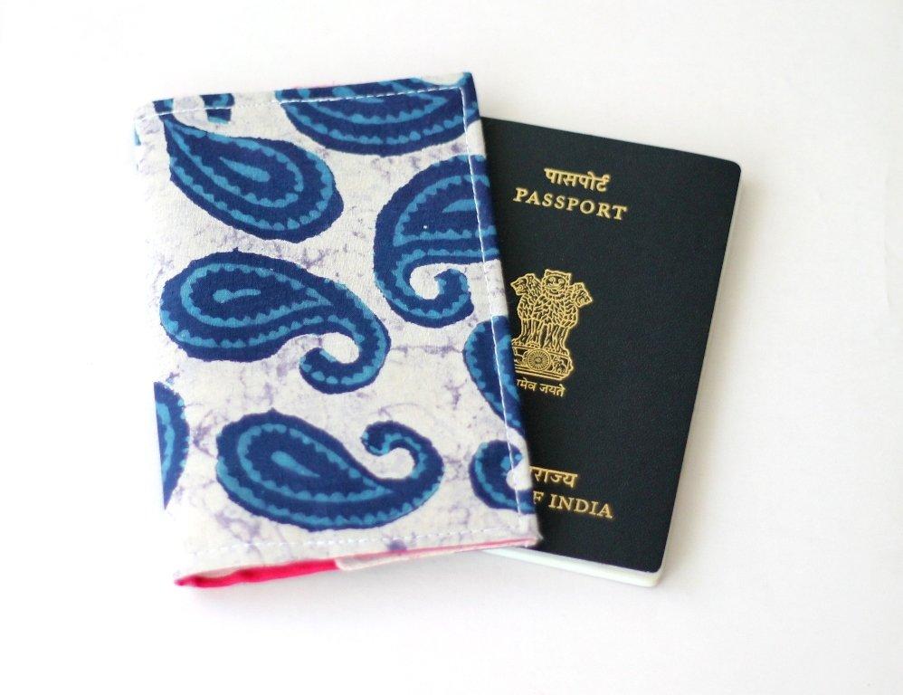 Ready to Ship Indigo Blue Passport Cover, Fabric Passport Sleeve, Basic Passport Holder, Passport Wallet, travel gift