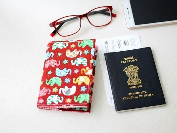 Handmade elephant print passport cover