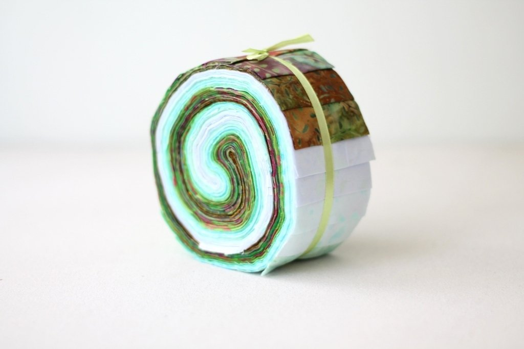 Green Moss Pistachio Batik Jellyroll Quilting Fabric Bundle