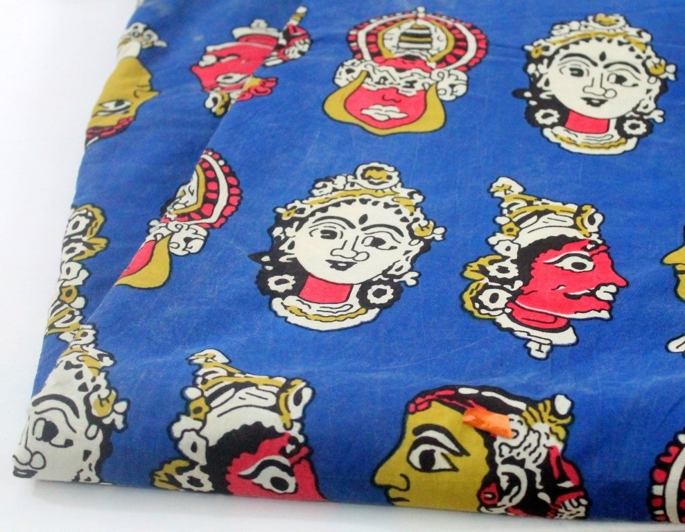 Kathakali Print Kalamkari Fabric - block print mud cloth sewing material